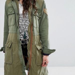 Color Block Military Jacket